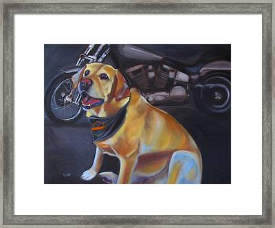 George And The Harley Framed Print