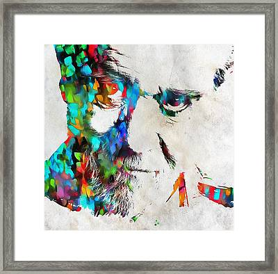 George Carlin Watercolor Abstract Framed Print by Dan Sproul
