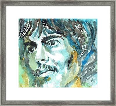 George Harrison Portrait 1 - By Diana Van Framed Print by Diana Van