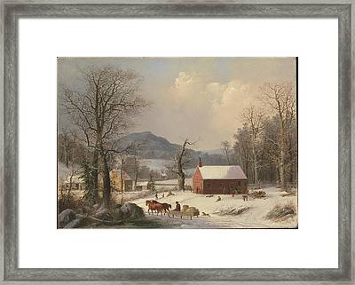 George Henry Durrie    Red School House Country Scene Framed Print