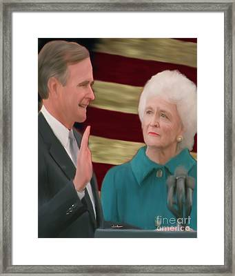 George Hw Bush Inauguration  Framed Print by Jack Bunds