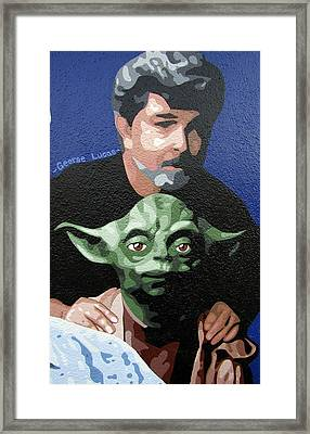 George Lucas With Yoda Framed Print by Roberto Valdes Sanchez