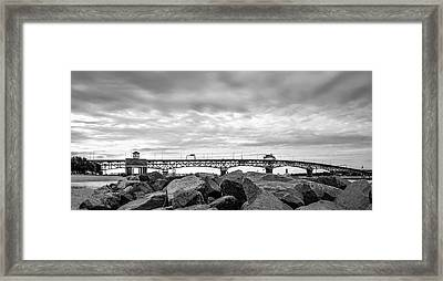 George P. Coleman Memorial Bridge In Black And White Framed Print