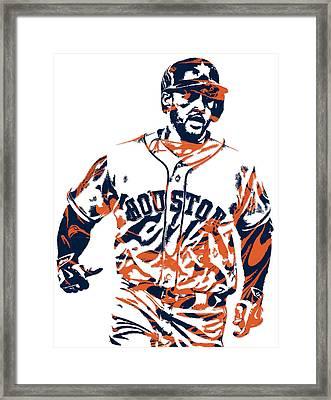 George Springer Houston Astros Pixel Art 1 Framed Print