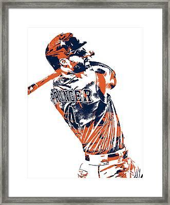 George Springer Houston Astros Pixel Art 4 Framed Print