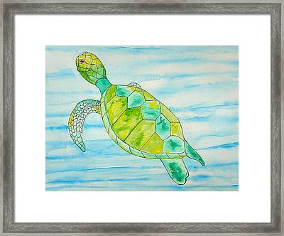 Framed Print featuring the painting George The Hawaiian Sea Turtle by Erika Swartzkopf