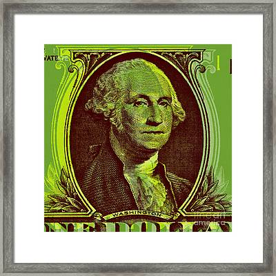 Framed Print featuring the digital art George Washington - $1 Bill by Jean luc Comperat