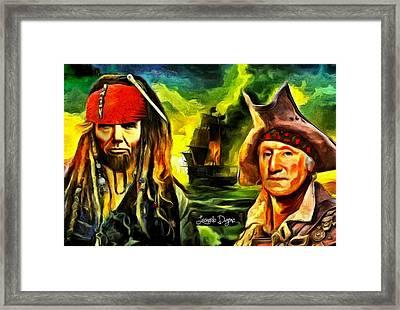 George Washington And Abraham Lincoln The Pirates - Da Framed Print by Leonardo Digenio