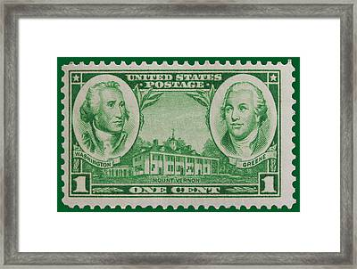 George Washington And Nathanael Greene Postage Stamp Framed Print by James Hill