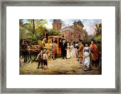 George Washington Arriving At Christ Church Framed Print by War Is Hell Store