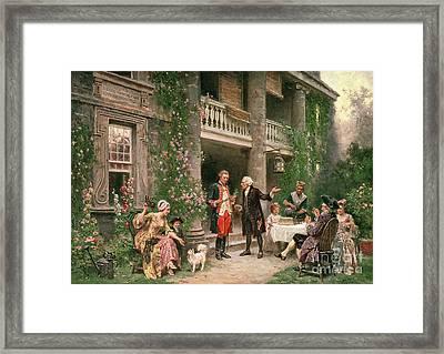 George Washington At Bartrams Garden Framed Print by Jean Leon Jerome Ferris