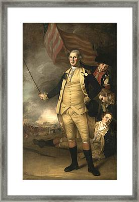 George Washington At The Battle Of Princeton Framed Print by Charles Willson Peale