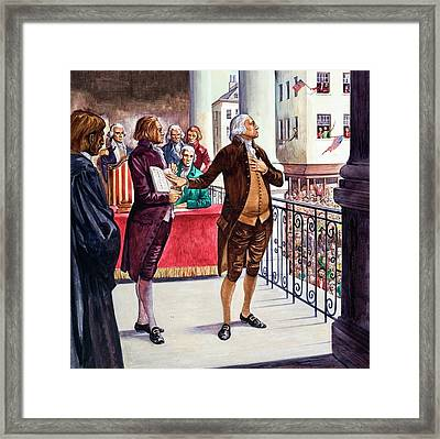 George Washington Being Sworn In As President Of The United States Framed Print by Peter Jackson