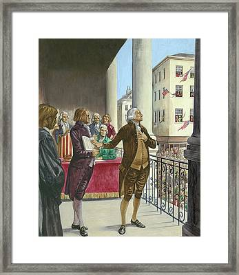 George Washington Being Sworn In As The First President Of America In New York Framed Print by Peter Jackson