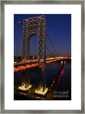 George Washington Bridge At Night Framed Print by Zawhaus Photography