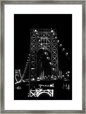 George Washington Bridge Black And White Framed Print