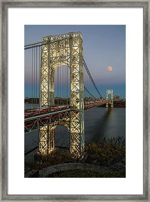 George Washington Bridge Moon Rising Framed Print