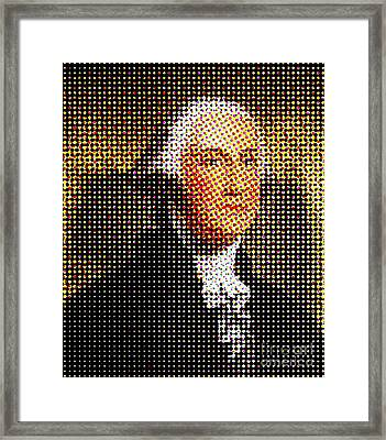 George Washington In Dots  Framed Print