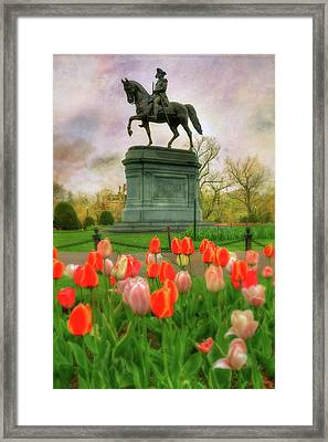 George Washington In The Boston Public Garden Framed Print