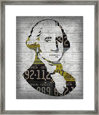 George Washington Presidential Portrait In Recycled Vintage Virginia License Plates On Wood Framed Print by Design Turnpike