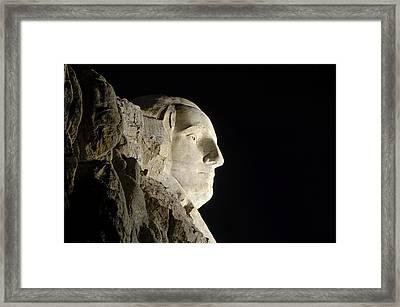 George Washington Profile At Night Framed Print by David Lawson