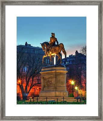 Framed Print featuring the photograph George Washington Statue In Boston Public Garden by Joann Vitali