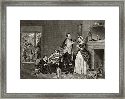 George Washington's First Interview With Mrs Martha Custis Framed Print by Alonzo Chappel