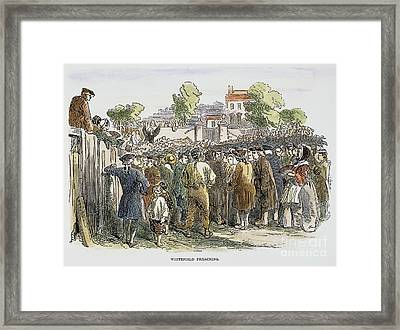 George Whitefield /n(1714-1770). English Evangelist, Preaching To A Crowd: Engraving, 19th Century Framed Print by Granger
