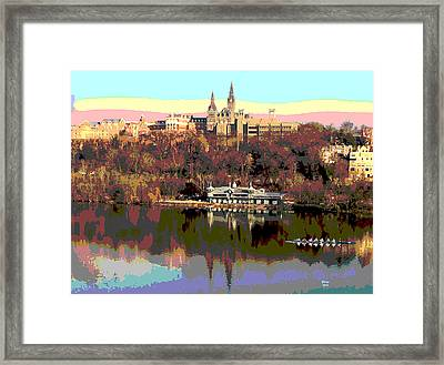 Georgetown University Crew Team Framed Print by Charles Shoup