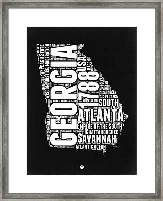 Georgia Black And White Word Cloud Map Framed Print