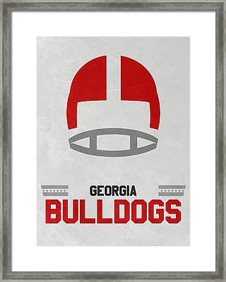 Georgia Bulldogs Vintage Football Art Framed Print