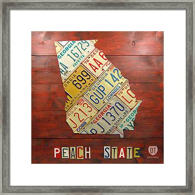 Georgia License Plate Map Framed Print