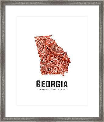 Georgia Map Art Abstract In Brown Framed Print