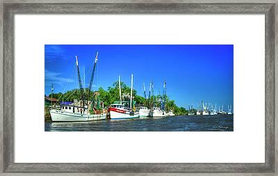 Georgia Shrimpers Shrimp Boats Darien Georgia Framed Print by Reid Callaway