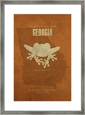 Georgia State Facts Minimalist Movie Poster Art Framed Print