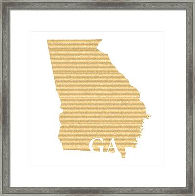 Georgia State Map With Text Of Constitution Framed Print