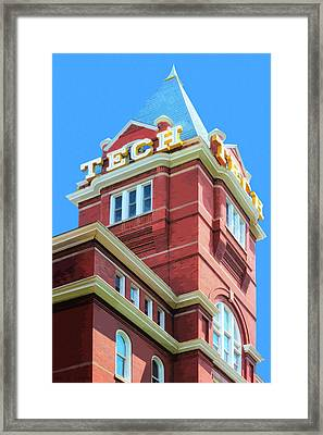 Framed Print featuring the digital art Georgia Tech Tower by Mark Tisdale