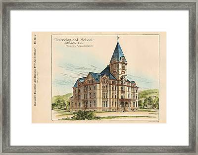 Georgia Technical School. Atlanta Georgia 1887 Framed Print by Bruce and Morgan