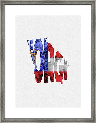 Georgia Typographic Map Flag Framed Print