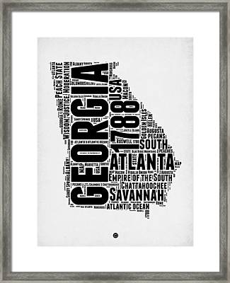 Georgia Word Cloud Map 2 Framed Print