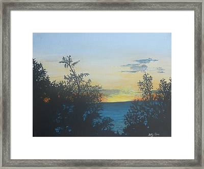 Framed Print featuring the painting Georgian Bay Sunset by Betty-Anne McDonald
