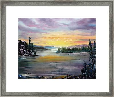 Georgian Bay Sunset Framed Print by Larry Hamilton