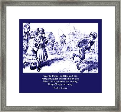Framed Print featuring the painting Georgy Porgy Mother Goose Illustrated Nursery Rhyme by Marian Cates