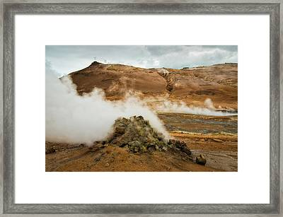 Geothermal Area Namafjall In Iceland Framed Print by Matthias Hauser