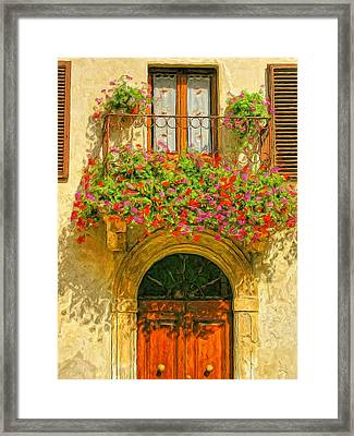 Gerani Coloriti Framed Print by Dominic Piperata