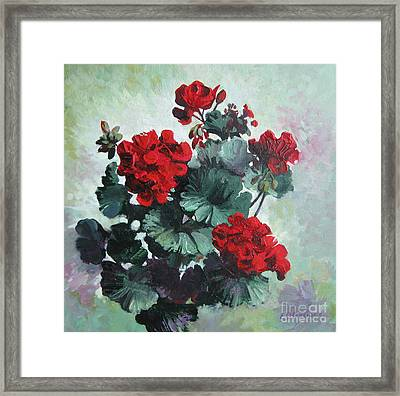 Framed Print featuring the painting Geranium by Elena Oleniuc