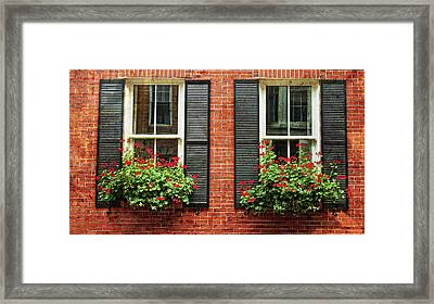 Geranium Window Boxes On Colonial Windows Framed Print by Joann Vitali