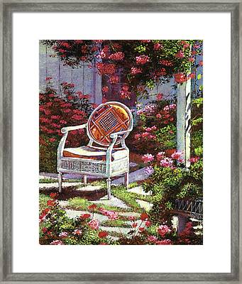 Geraniums And Wicker Framed Print