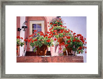 Geraniums At The Top Of Stairs Framed Print by David Lloyd Glover