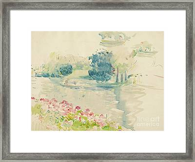 Geraniums By The Lake Framed Print by Berthe Morisot